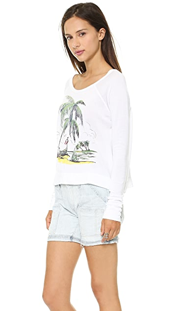 SUNDRY Palms Cropped Pullover