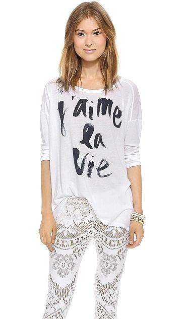 SUNDRY J'aime La Vie 3/4 Sleeve Tunic