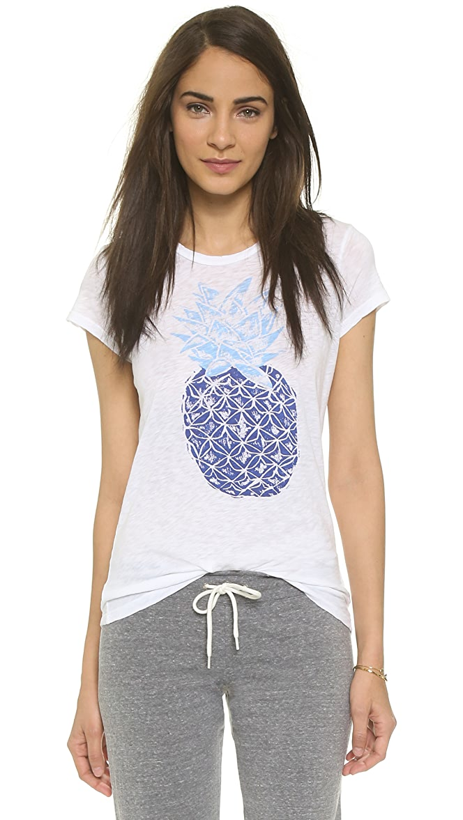 SUNDRY Womens Boy Tee Pineapples