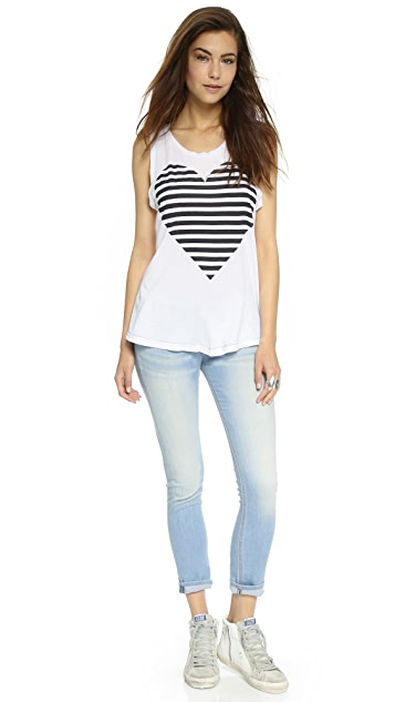 SUNDRY Stripe Heart Muscle Tee