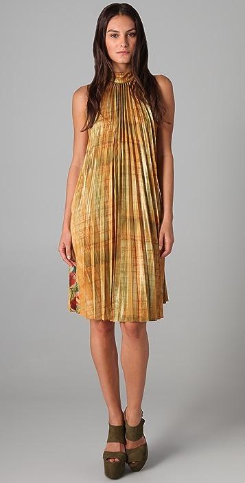 SUNO Pleated Trapeze Dress
