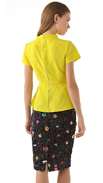 SUNO Zip Back Peplum Top
