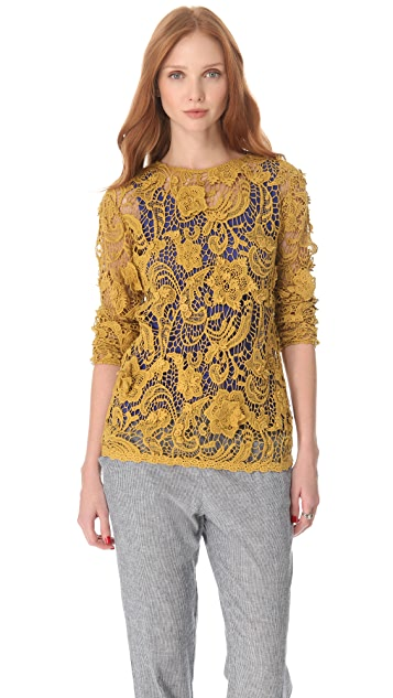 SUNO Long Sleeve Crochet Tee