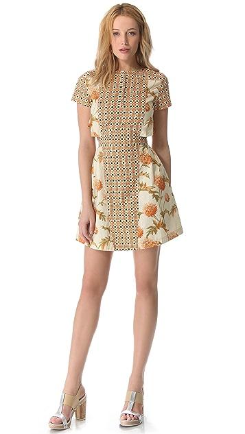SUNO Button Collar Cutout Dress