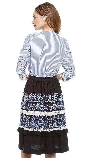 SUNO Collarless Pocket Blouse