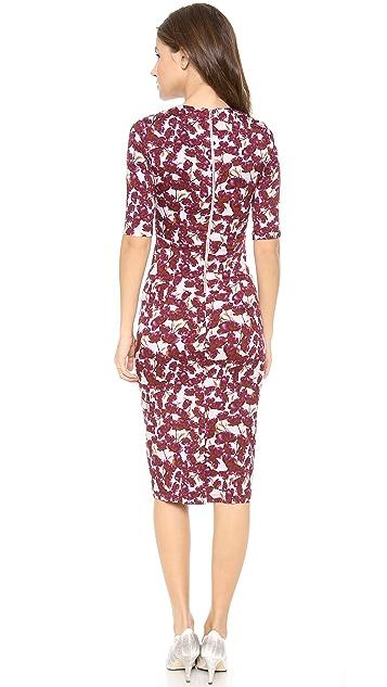 SUNO 3/4 Sleeve Floral Cutout Dress