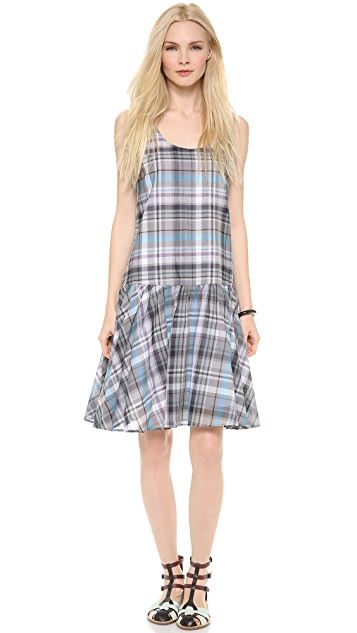 SUNO Ruffled Hem Tank Dress