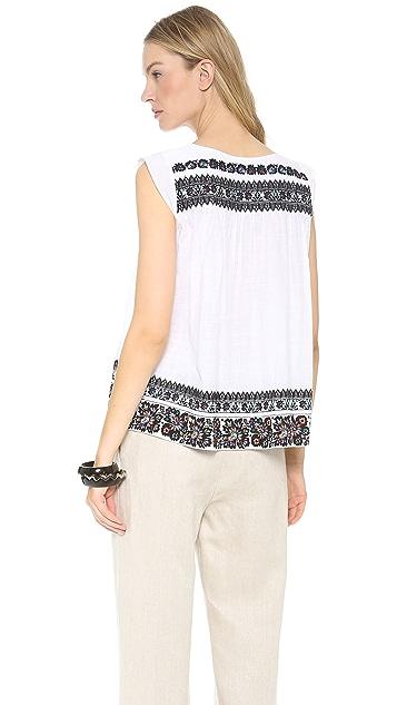 SUNO Sleeveless Embroidered Top