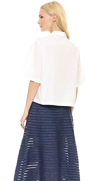 SUNO Button Down Embroidered Top