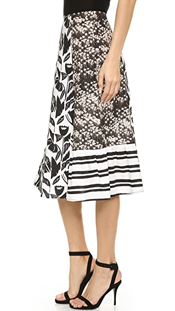 SUNO Paneled Ruffle Hem Skirt