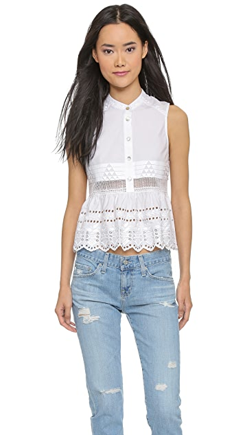 SUNO Babydoll Embroidered Top