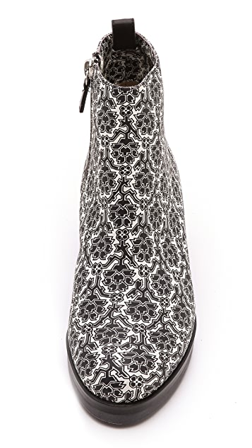 SUNO x Nicholas Kirkwood Black & White Floral Booties