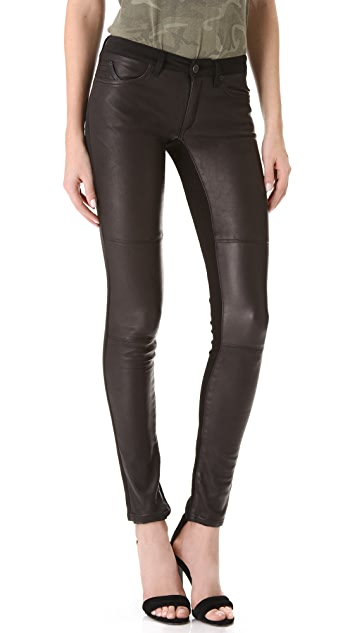 Superfine Leather Panel Skinny Jeans