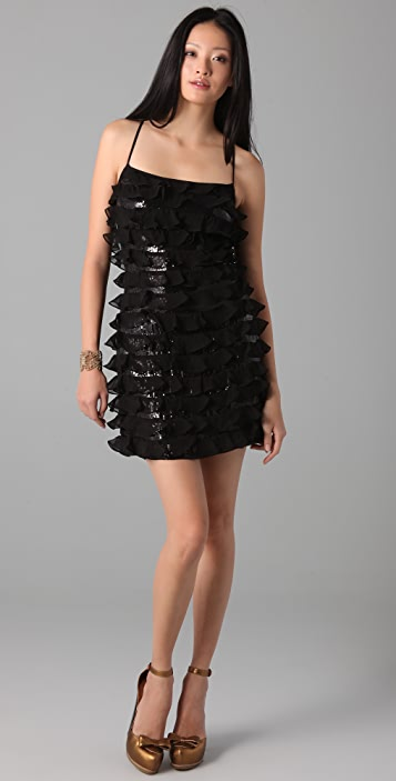 Susana Monaco Chiffon Sequined Dress