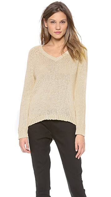 360 SWEATER Stacia 3/4 Sleeve V-Neck Sweater