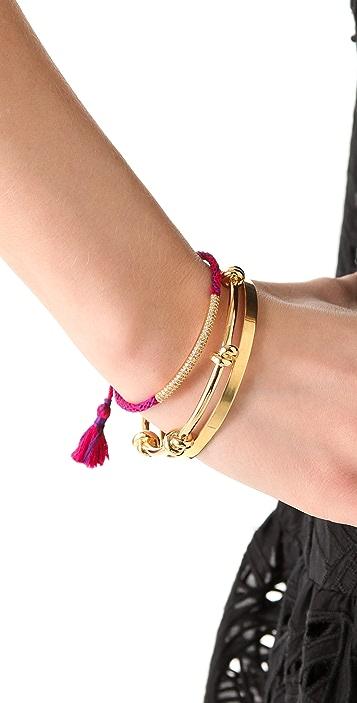 Tai Woven Gold Bar Charm Bracelet