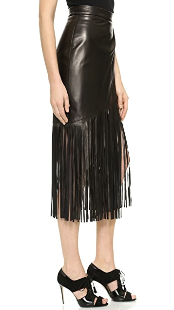 Tamara Mellon Leather Fringe Skirt