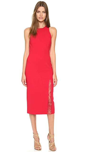 Tamara Mellon Sheath Dress with Lace Insert Slit