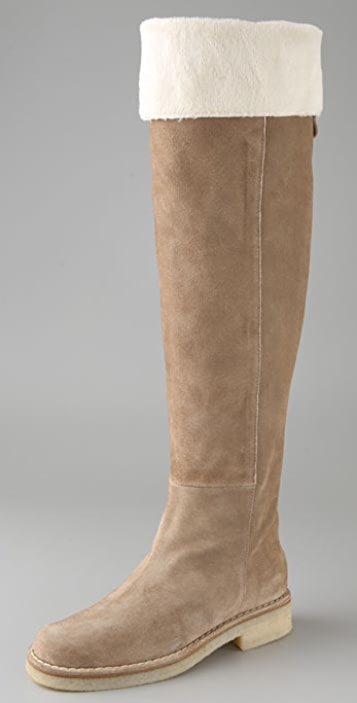 105f53dff82 Tapeet Flat Suede Over the Knee Boots with Faux Fur Lining