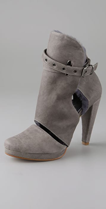 Tashkent by Cheyenne Felipe Open Vamp Booties with Shearling