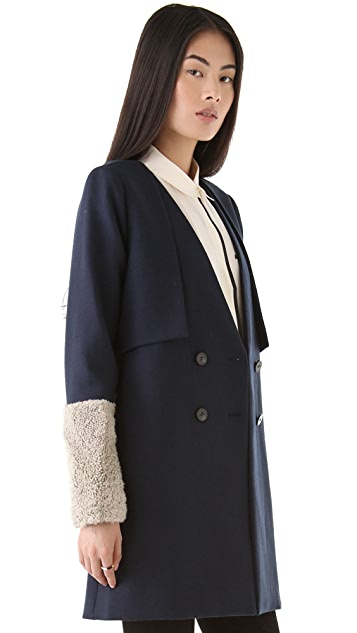 tba (to be adored) Nina Coat with Shearling Sleeves