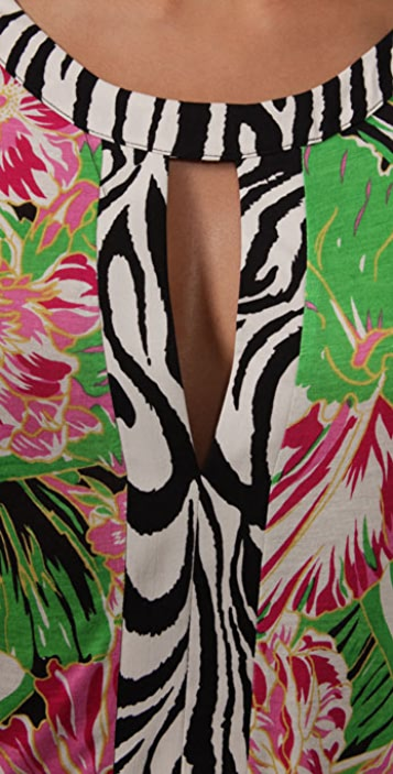 MISA Long Sleeve Keyhole Dress