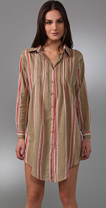 MISA Striped Shirtdress
