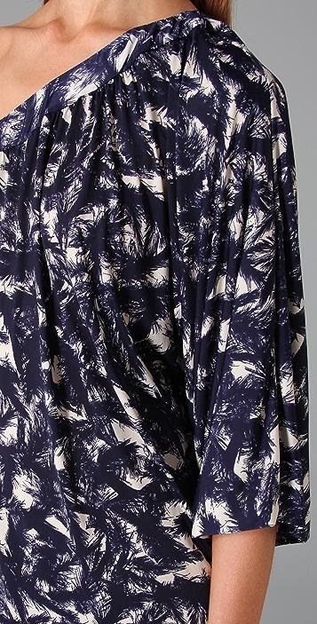 MISA One Shoulder Print Dress