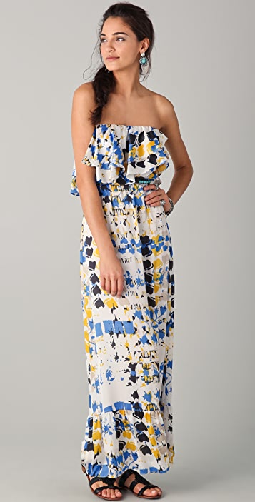 MISA Ruffle Strapless Maxi Dress