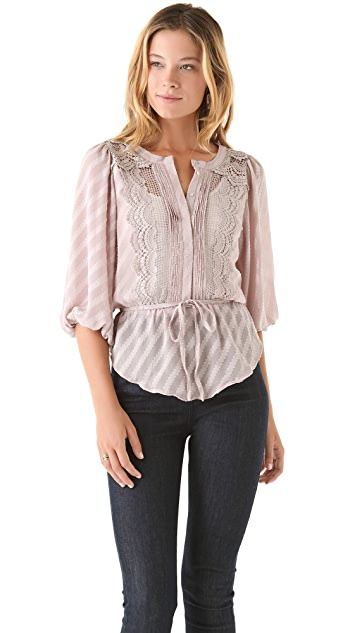 MISA Button Blouse with Tie