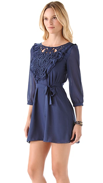 MISA Embroidered Panel Dress