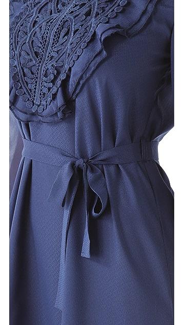 MISA Embroidered Panel Dress