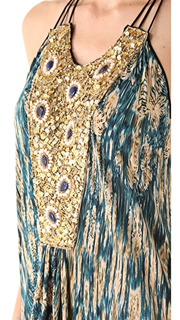 MISA Maxi Dress with Beaded Bib