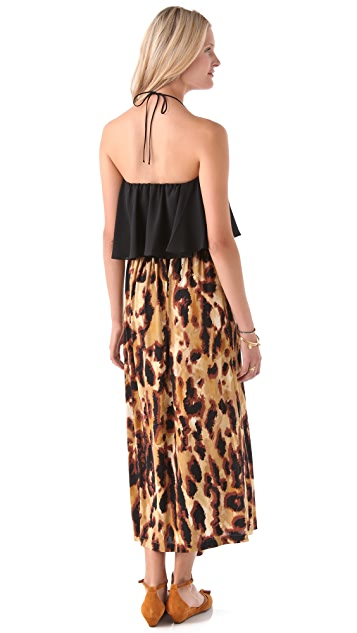 MISA Halter Flutter Maxi Dress