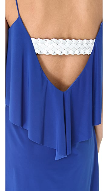 MISA Open Back Flutter Dress