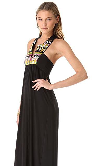 MISA Maxi Dress with Embroidered Bib