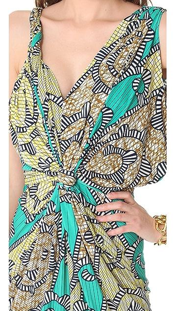 MISA Ruched Maxi Dress