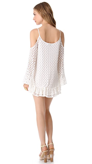 MISA Crochet Mini Dress with Cutouts