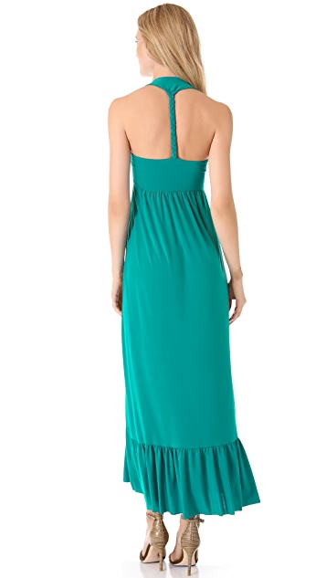 MISA Embellished Bib Maxi Dress