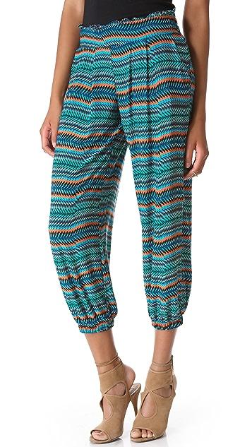 MISA Cropped Print Harem Pants