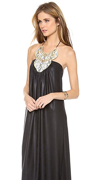 MISA Faux Leather Long Dress