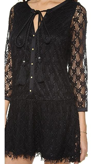 MISA 3/4 Sleeve Crochet Mini Dress
