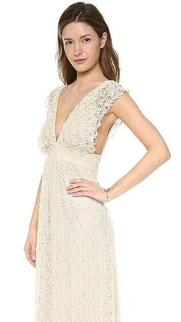 MISA V Neck Crochet Maxi Dress