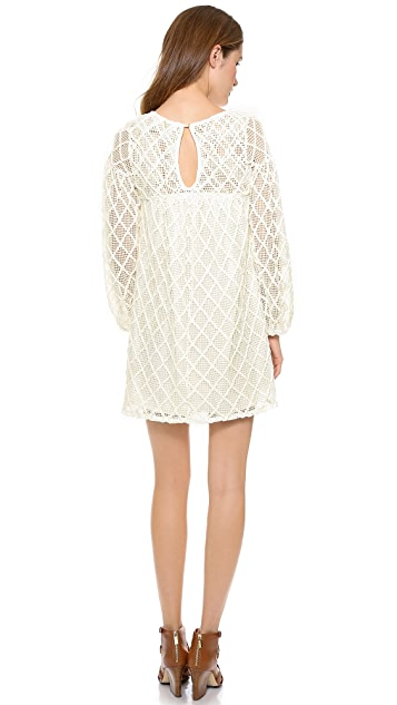 MISA Crochet Long Sleeve Dress