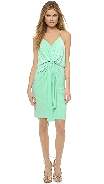 MISA Knee Length Dress With Knot Detail