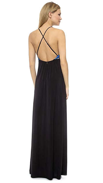 MISA Crisscross Back Maxi Dress