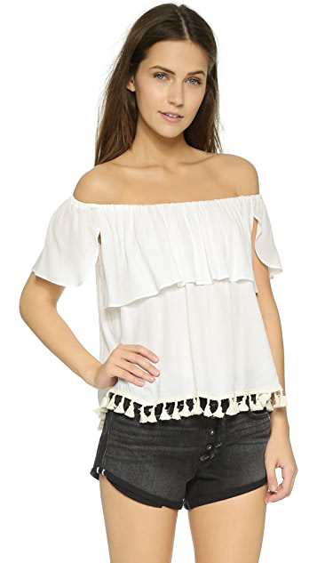 MISA Ruffle Off the Shoulder Top