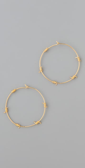 TOM BINNS Barricade Babe Barbwire Hoop Earrings