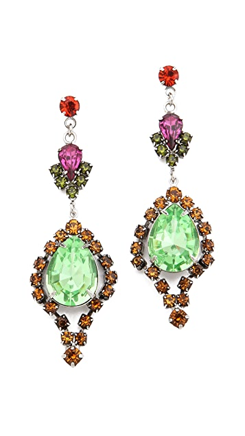 TOM BINNS Multi Crystal Drop Earrings