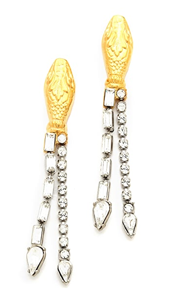 TOM BINNS Crystal Snake Earrings